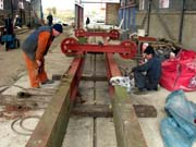 image: Work on crane carriage taking place in Running Shed