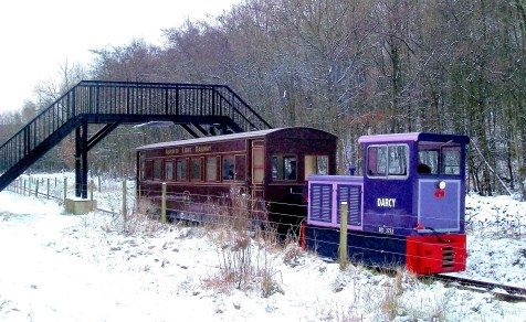 image: Winter passenger train in the snow